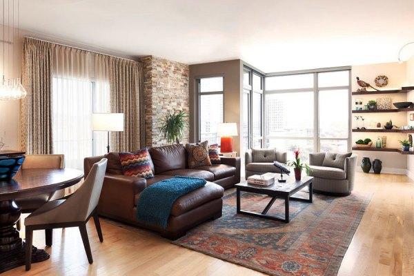 кожаная мягкая мебель для гостиной фото