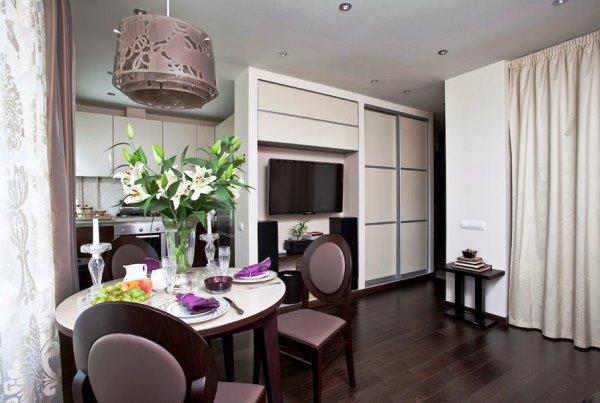 дизайн интерьера однокомнатной квартиры студии фото 15