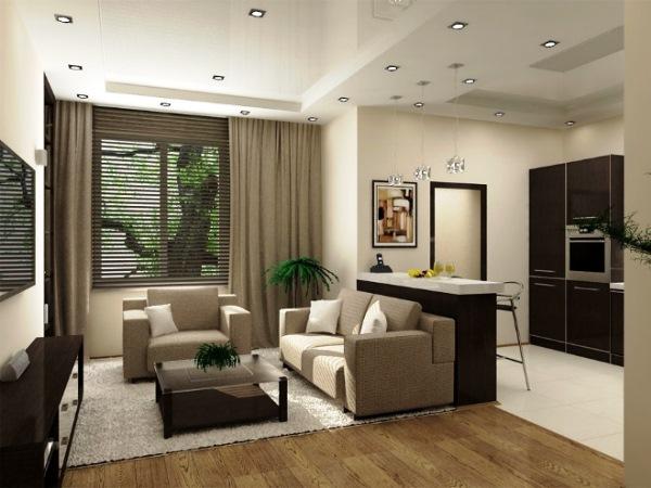 дизайн интерьера однокомнатной квартиры студии фото 5