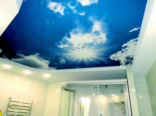 натяжные потолки в ванной фото 26