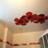 натяжные потолки в ванной фото 8
