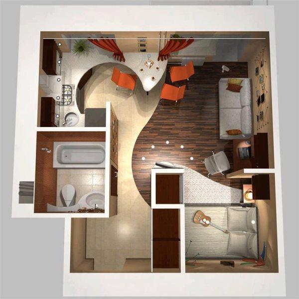 перепланировка однокомнатной квартиры 30 кв м хрущевка фото