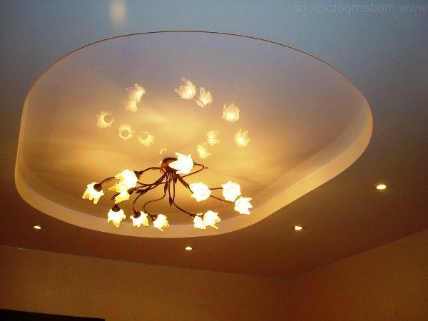 светильники и люстры для натяжных потолков фото