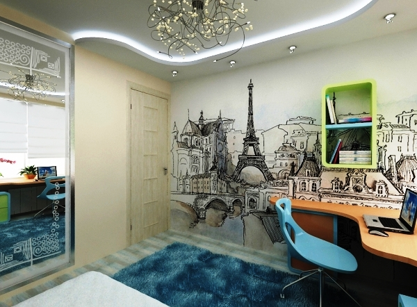 дизайн комнаты с фотообоями для подростков фото