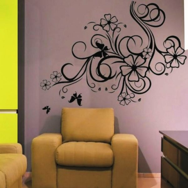 трафарет цветов на стену фото 8