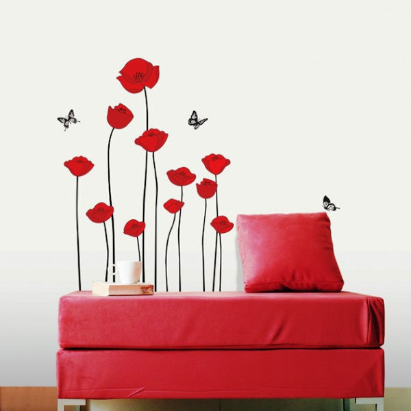 трафарет цветов на стену фото 9