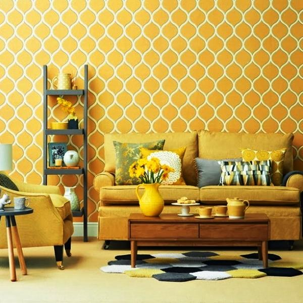 Желтые обои в интерьере фото