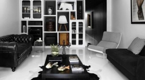черно белый интерьер