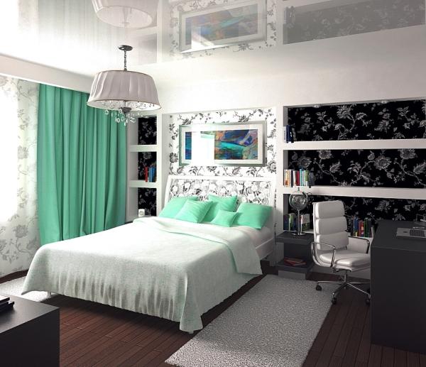 Интерьер черно белой спальни фото
