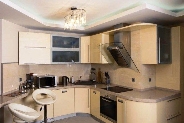 дизайн кухни в бежевых тонах фото