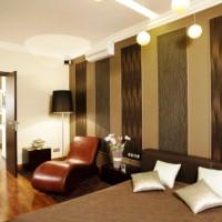 дизайн спальни с обоями двух цветов фото 18