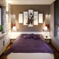 дизайн спальни с обоями двух цветов фото 21