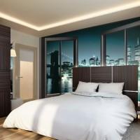 дизайн спальни с обоями двух цветов фото 22