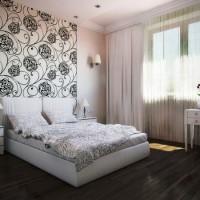 дизайн спальни с обоями двух цветов фото 28