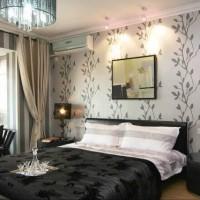 дизайн спальни с обоями двух цветов фото 5