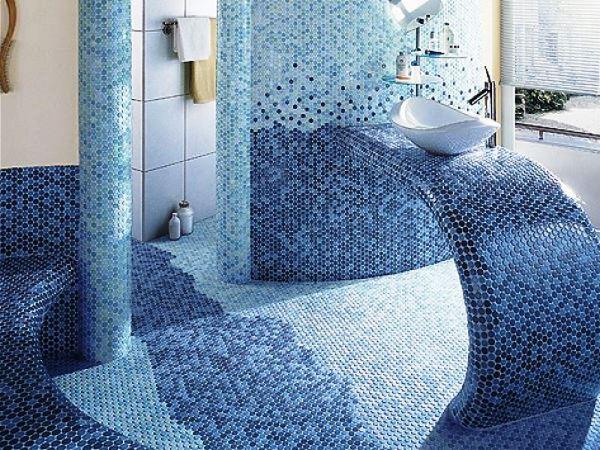 дизайн ванной комнаты в мозаике фото