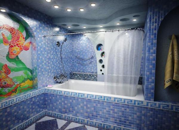 дизайн ванной с мозаикой и плиткой фото