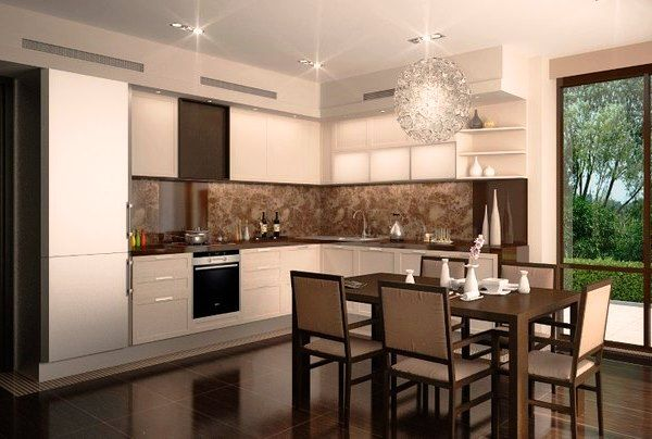 интерьер кухни в бежевом цвете фото 6