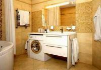 интерьер ванной комнаты в современном стиле со стиральной машиной фото