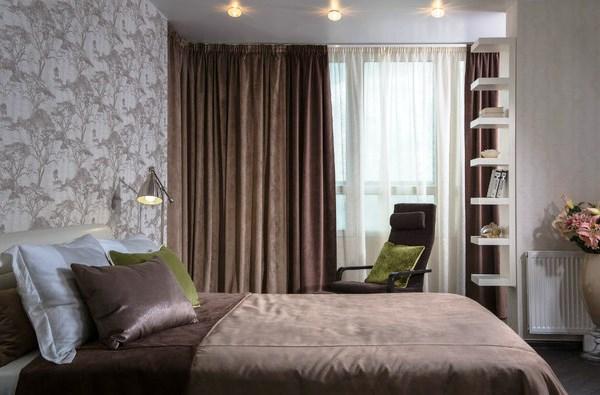 как красиво наклеить обои в спальне двух цветов фото 6