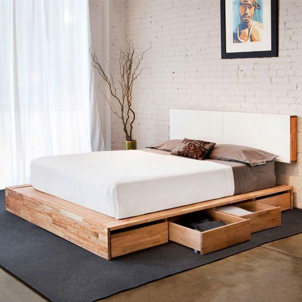 кровать на подиуме с ящиками фото