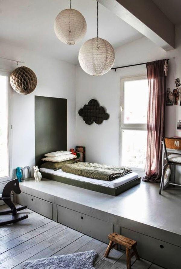 кровать подиум с ящиками фото
