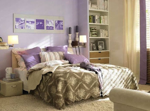 сиреневая спальня дизайн фото