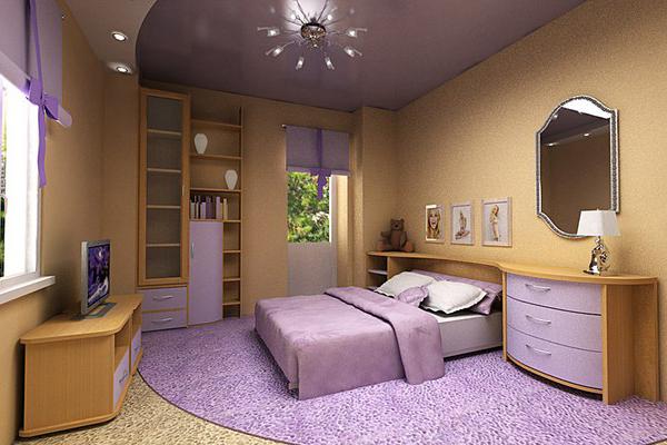 спальня в сиреневом цвете дизайн фото