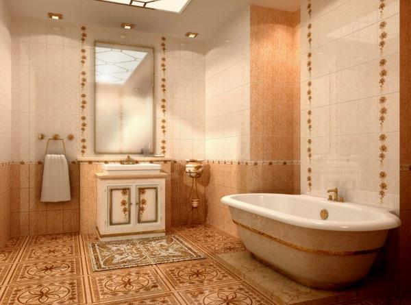 ванная в бежево-коричневых тонах фото