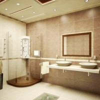 ванная в бежевых тонах фото 8
