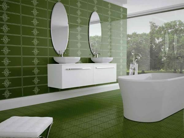 зеленая плитка для ванной комнаты фото