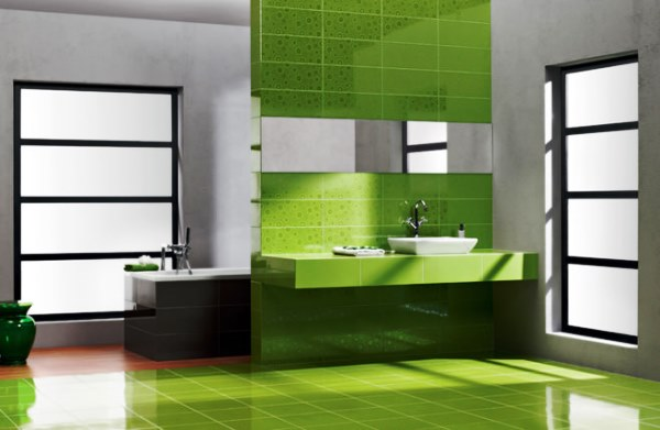 зеленая плитка в ванную комнату фото