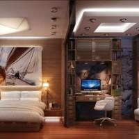 зонирование комнаты на спальню и гостиную фото 21