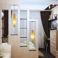 зонирование комнаты на спальню и гостиную фото 27
