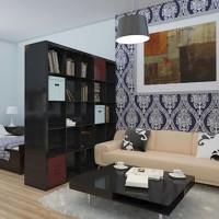 зонирование комнаты на спальню и гостиную фото 31