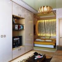 зонирование комнаты на спальню и гостиную фото 36