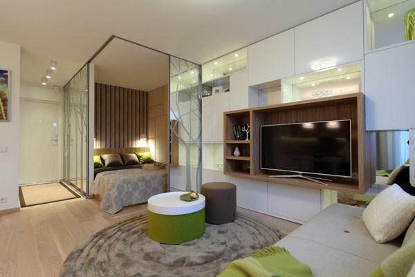 зонирование комнаты на спальню и гостиную фото 4
