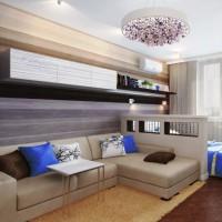 зонирование комнаты на спальню и гостиную фото 41