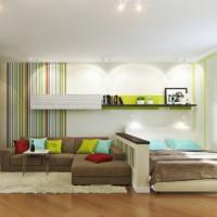 зонирование комнаты на спальню и гостиную фото 42