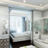 зонирование комнаты на спальню и гостиную фото 44