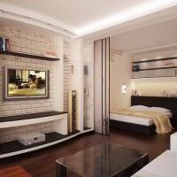 зонирование комнаты на спальню и гостиную фото 52