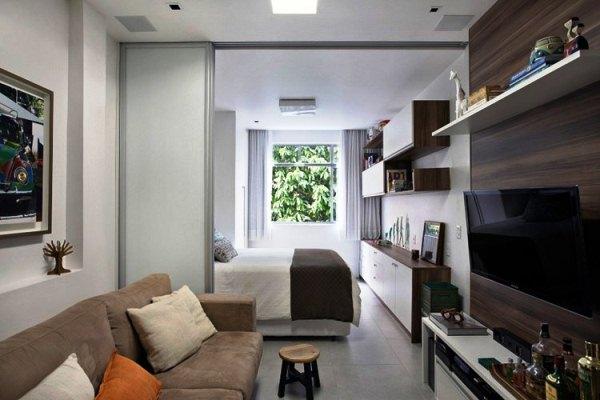 зонирование комнаты на спальню и гостиную фото 6