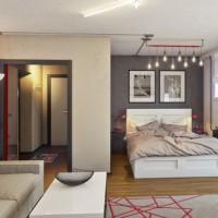 зонирование комнаты на спальню и гостиную фото 62