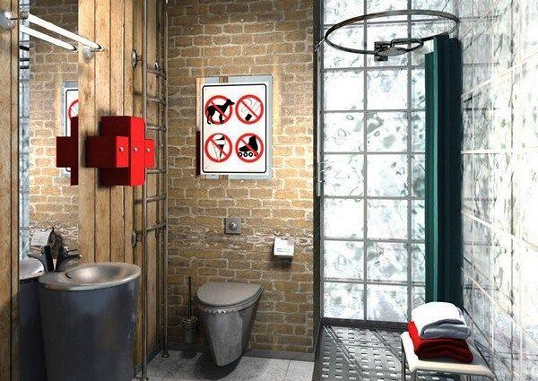 лофт в интерьере в ванной