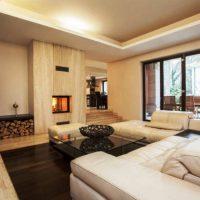 гостиная с камином фото 24