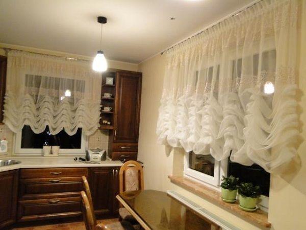 шторы для кухни фото короткие