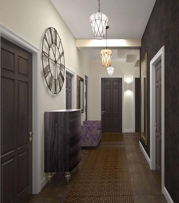 прихожая в современном стиле в узкий коридор
