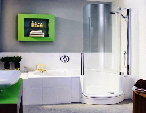 ванна с душевой кабиной дизайн фото