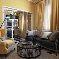 диван в интерьере гостиной фото 41