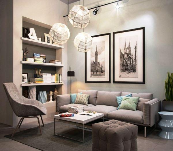 диван в интерьере маленькой гостиной фото